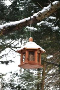 ma mangeoire à oiseau en bois nourrir les oiseaux en hiver