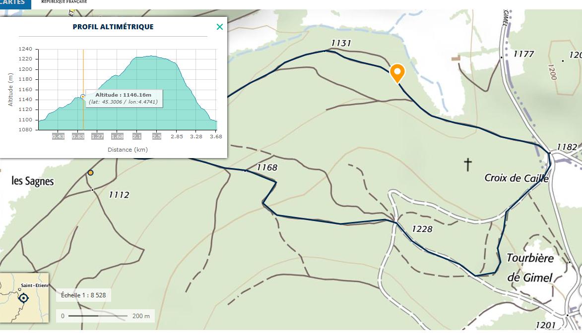 carte de randonnée avec profil altimètrique